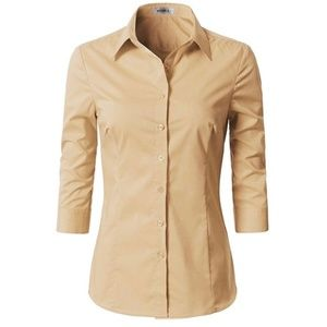 Basic Slim Fit Simple 3/4 Sleeve Button Down Shirt